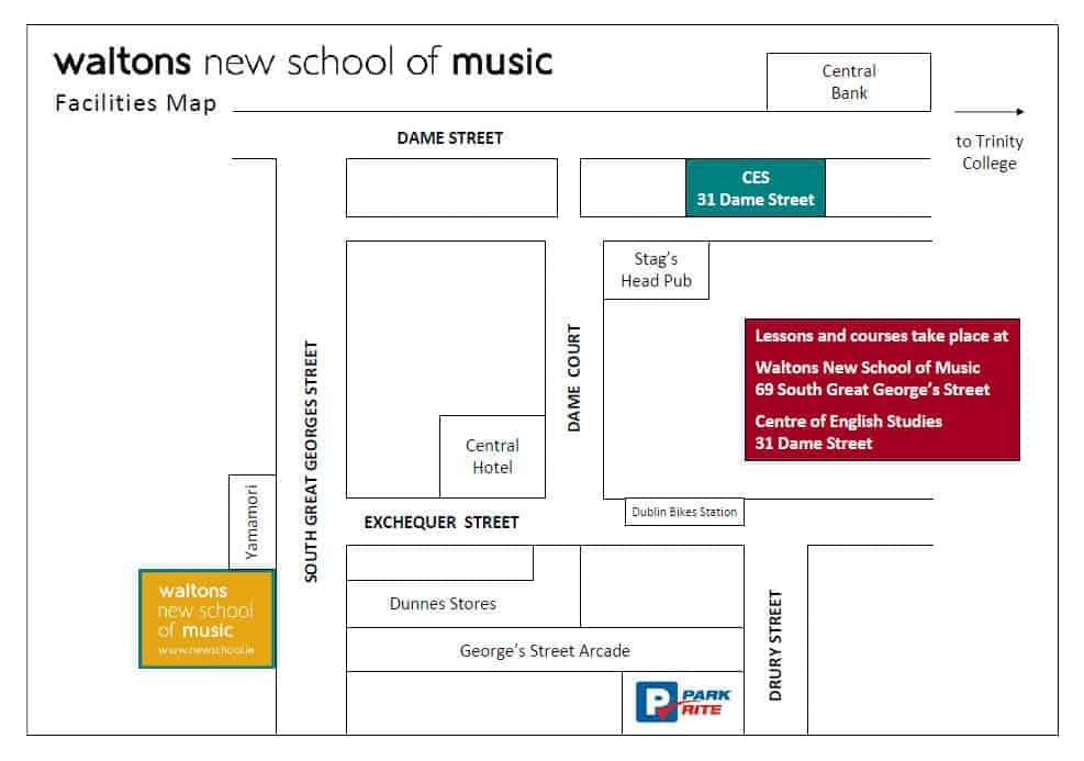 Waltons New School of Music Facilities Map